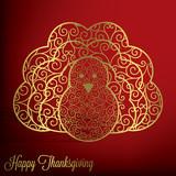 Filigree turkey Thanksgiving card in vector format.   poster