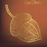 Filigree acorn Thanksgiving card in vector format.   poster