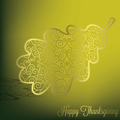 Filigree acorn leaf Thanksgiving card in vector format.