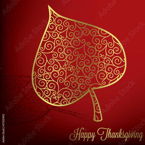 Filigree leaf Thanksgiving card in vector format.