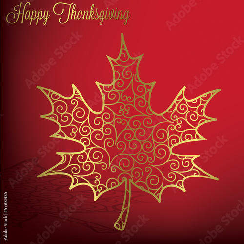 Filigree maple leaf Thanksgiving card in vector format.
