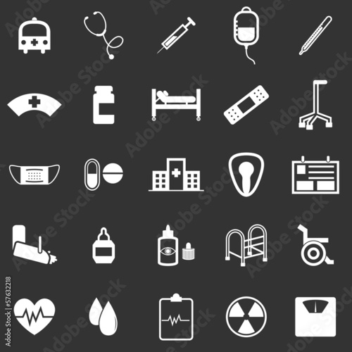 Hospital icons on black background