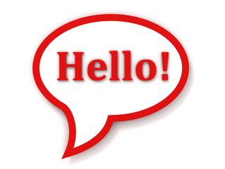 red chat box hello dialogue bubble