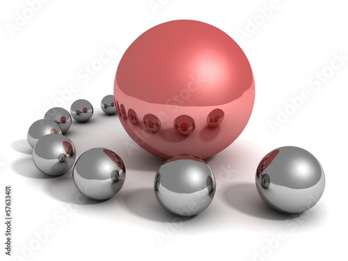 Unique red ball leader in crowd of metallic other spheres