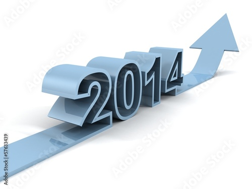 blue success 3D arrow with new year 2014 pointing up