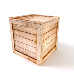 3d wooden box on white background