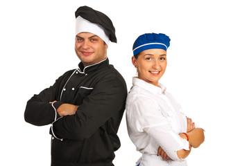 Happy chef male and waitress