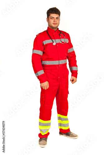 Full length of paramedic man