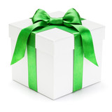 Gift box with green ribbon and bow.