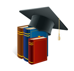 Graduation cap with books isolated on white