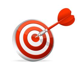 Dartboard with dart. Hitting A Target