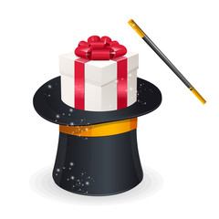 Magic hat and gift box. Present concept