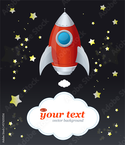 Comic cartoon rocket space ship and text