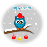 Happy new year greeting card with owl in santa hat