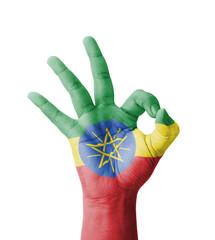 Hand making Ok sign, Ethiopia flag painted
