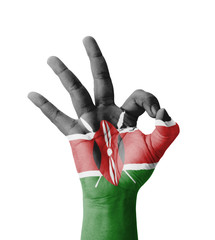 Hand making Ok sign, Kenya flag painted