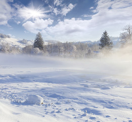 Beautiful winter landscape in the mountain village.