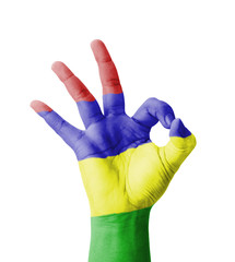 Hand making Ok sign, Mauritius flag painted