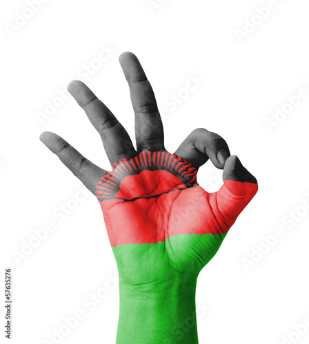 Hand making Ok sign, Malawi flag painted