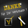 chalkboard : thank you of your support in deutsch