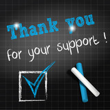 chalkboard : thank you of your support in english