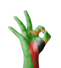 Hand making Ok sign, Zambia flag painted