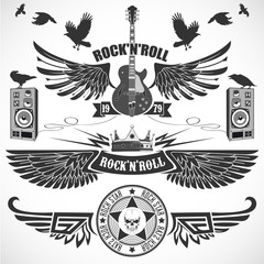 Rock n 'Roll set of symbols with wings