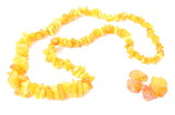 Orange, shiny necklace for the woman with raw amber