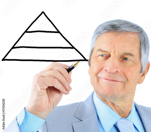 Businessman in age, draws a graph
