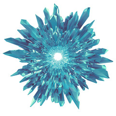 3d abstract blue arctic crystal round broken shape