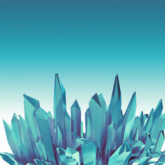 3d abstract blue arctic crystal shape background