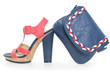 Trendy navy blue and pink shoe, with matching bag, on w