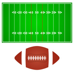 American football field with ball