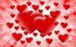 wiele serc i czerwone tlo