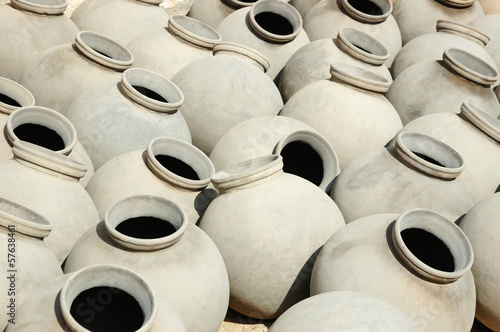 Big grey ceramic jars produced by Bishnou people,India,Rajasthan