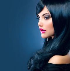 Beautiful Brunette Woman. Healthy Long Black Hair
