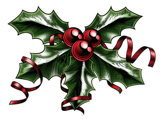 Vintage Christmas Holly Illustration