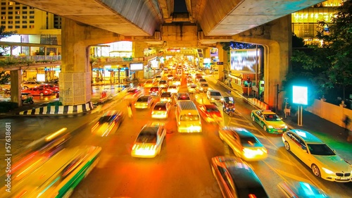 Busy traffic of a city at night Bangkok Thailand.