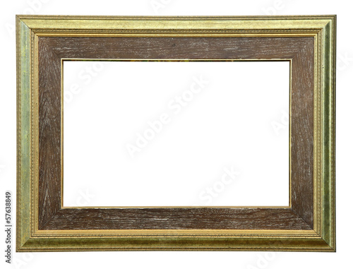 Golden old style photo frame clipping path.