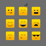 Collection of different square emotion faces