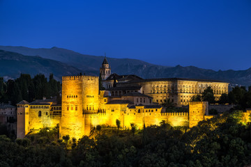 Ancient arabic fortress of Alhambra at night. Granada, Spain.