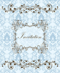 Invitation card style damask