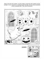 Halloween dot-to-dot and coloring page