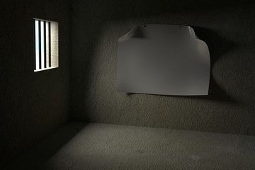Interior of a Prison Cell with Blank Poster