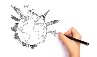 Drawing travel around the world (Japan,France,Italy ,New York,In