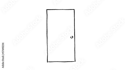 Hand drawn opening door with green (chroma key) background