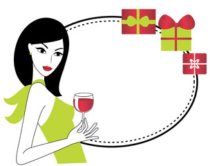 Young woman with glass of wine and presents