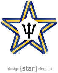 star with flag of Barbados colors and symbols design element