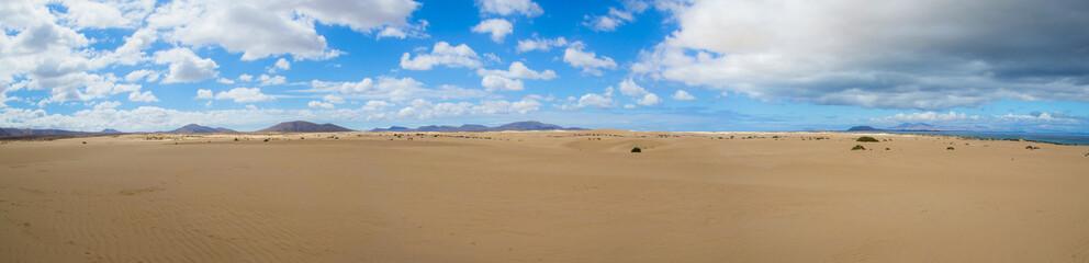 Desert landscape at Park of Corralejo, Fuerteventura, Canary isl