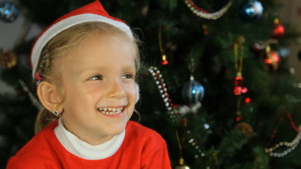 Child, Little Girl Laughing, Smiling Near Christmas Tree, Winter